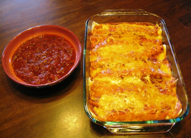 Chicken Enchiladas and Salsa